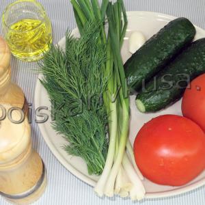 овощной салат из помидор и огурцов