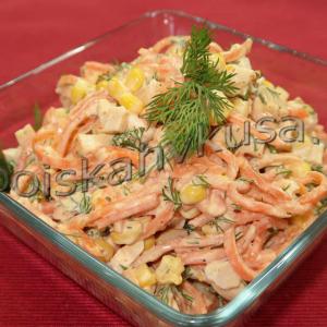 Салат с копчённой грудкой и корейской морковью