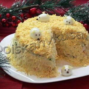 Салат Новогодний Мышки в сыре