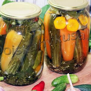 маринованные огурцы с болгарским перцем и морковью