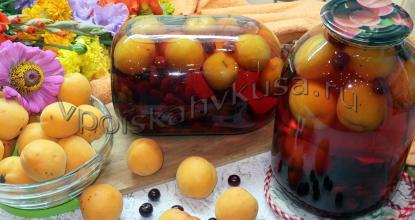 Вишнёвый компот с абрикосами на зиму
