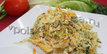 Жареная капуста с яйцом