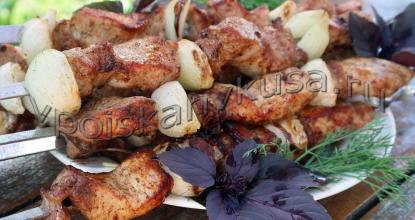 Шашлык из свинины с маринованным луком