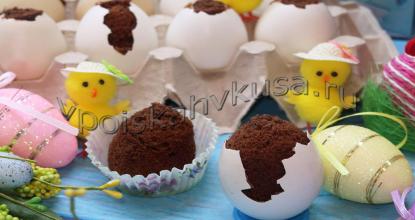Шоколадные кексы в яичной скорлупе на Пасху