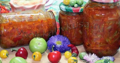 Салат из зелёных помидоров с томатной пастой
