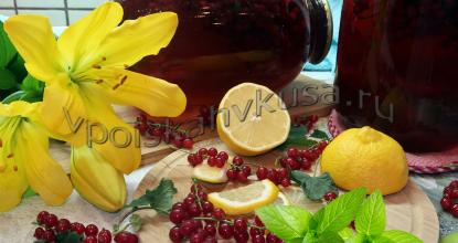 Мохито из красной смородины, лимона и мяты на зиму