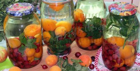 Компот из крыжовника с абрикосами и мятой на зиму