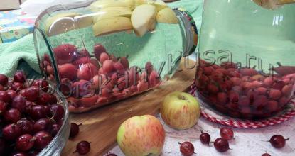Компот из крыжовника с яблоками на зиму