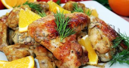 Куриные крылышки с апельсиновой цедрой в духовке